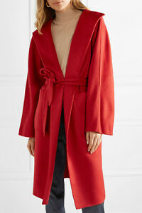 BNWT MAX MARA Lilia Belted Brushed Cashmere Coat in Red UK 8 NET-A-PORTER