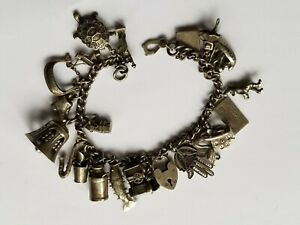 Vintage Sterling Silver Charm Bracelet with 23 Charms