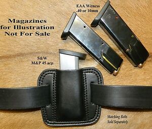 Leather MAG POUCH .45 Double Stack S&W MP magazines also fits EAA 40 cal 10mm
