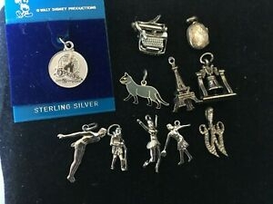 Lot of 11 Vintage Sterling Silver Charms for Charm Bracelets -collectibles