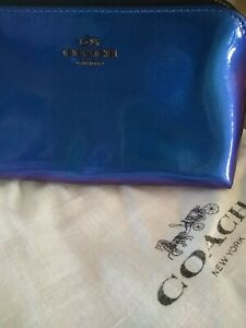 NWT Coach X NASA Small Cosmetic Bag Hologram Patent Leather glitter F29412