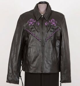 Women's Motorcycle Jacket L Large Black Removable Liner LEATHER KING