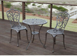 Patio Bistro Set Stationary Weather Resistant Cast Aluminum Lightweight 3-Piece