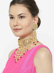 Indian Bollywood Padmawat Red Pearl Choker Necklace Earrings Set Women Jewellery