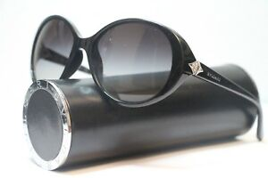 Bvlgari 8123-B 9018G Ladies Polished Black Butterfly Designer Sunglasses 58-16