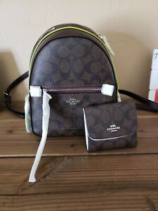 NWT Coach F38998 Andi Backpack In Signature Canvas BrownNeon & Matching Wallet!
