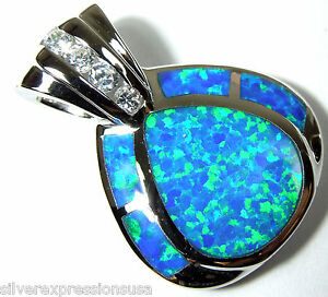 Blue Fire Opal & White Topaz Inlay 925 Sterling Silver Pendant For Necklace