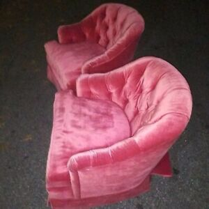 Pair Red Vintage Henredon Living Room Chairs Mid Century - $4000