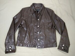 Banana Republic Vintage Brown Leather Motorcycle Jacket Size Large
