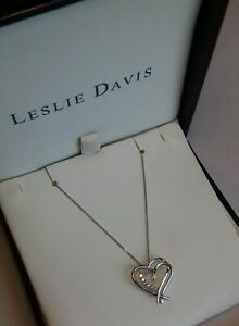 9CT WHITE GOLD DIAMOND HEART PENDANT & CHAIN FULL HALLMARKS NECKLACE RRP £350