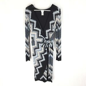 CACHE WRAP DRESS LARGE Ikat Design Stretch Comfort Womens