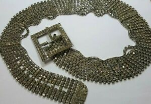 Vintage Art Deco Pave Prong Set Crystal Rhinestone Dress Belt Parts Replacement