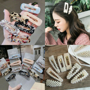2019 Women Pearl Hair Clip Snap Barrette Stick Hairpin Bobby Hair Accessories