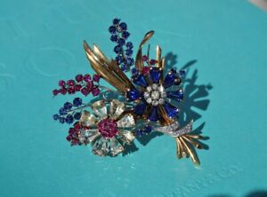 Tiffany & Co. Sapphire Diamond Ruby Flower Pin Brooch - 1940's Vintage RARE!