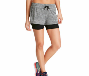 NWT C9 Champion Women's SMALL BlackGrey Knit Layered Running Shorts from Target