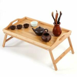 NEW FOLDING BAMBOO WOODEN SERVING BED LAP TRAY TABLE TRAY W LEGS BREAKFAST FOOD