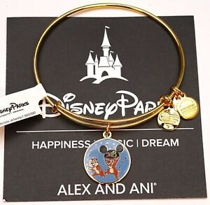NEW Disney Parks Alex And Ani Chip And Dale 2018 Shiny Gold Bangle Bracelet $23.95