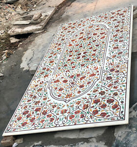 8'x4' Marble Restaurant Dining Table Top Carnelian Inlay Christmas Eve Gift E441