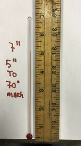 RARE 7 INCH GLASS REPLACEMENT THERMOMETER TUBE WITH RED LIQUID