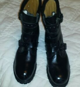 Mens leather steel toe boots motorcycle used size 13