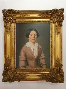 Original 19th Century Victorian Oil Portrait Painting French Signed Duclos 1800s