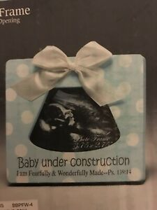 Baby Under Construction Ultrasound Photo Frame Blue Frame Psalm 139:14 $13.00