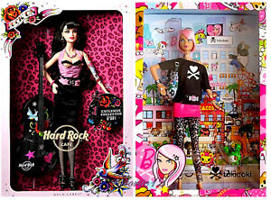 ( 2) TATTOO Mattel Barbie Dolls 2011 TOKIDOKI and 2009 HARD ROCK CAFE Gold Label
