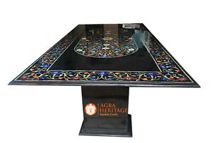 8'x4' Black Marble Dining Beautiful Table With Stand Inlay Multi Stone Art E1144