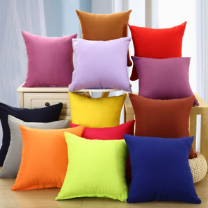 Solid Color Square Home Sofa Decor Pillow Cushion Cover Case Size 16 18 20 24