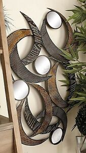 Large Contemporary Modern Style Metal Mirror Wall Panel Sculpture Art Home Decor