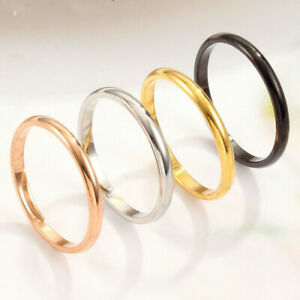 2pcs Thin Stackable Ring Punk Stainless Steel Plain Band Men Women Jewelry