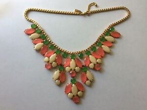 Kate Spade Marquee neon pink green white bib statement Necklace