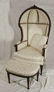 ANTIQUE 19th CENTURY FRENCH LOUIS XVI HOODED PORTERS CHAIR WITH OTTOMAN