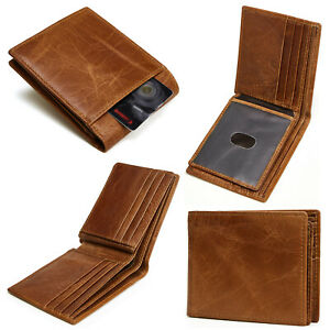 Men#x27;s RFID Blocking Full Grain Leather ID Window Multi Currency Bifold Wallet
