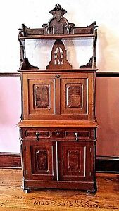 American Victorian Renaissance Fall Front Desk Solid Walnut 1850's-1870's 73