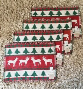 Vintage Set 4 Hand Woven Christmas Holiday Table Placemats Reindeer Moose Cotton