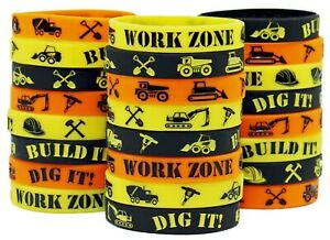 Construction Party Supplies 24 Construction Themed Silicone Wristbands