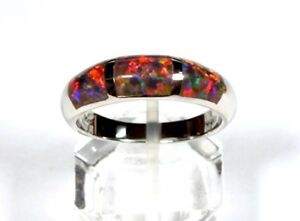 Fire Opal Inlay 925 Sterling Silver Men's Woman Band Ring size 891011