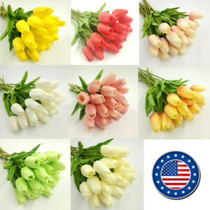 US 10 head Real Touch Artificial Tulip Fake Flower Wedding Home