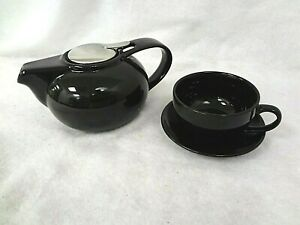 Contemporary BLACK Ceramic Tea Pot - Infuser with Tea Cup & Saucer ~ NEW in BOX
