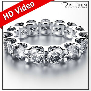 Womens Birthday 7.50 CT D SI2 Diamond Eternity Ring White Gold Wedding Band 028A