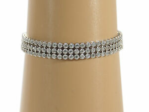14K Diamond Bracelet Multi Row Adjustable Clasp Pull White Gold