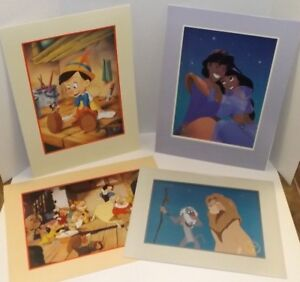 Set of (4) Disney Lithographs ~ Pinocchio  Snow White Aladdin Lion King