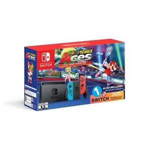 Nintendo Switch System Console  Neon Blue And Neon Red with Mario Tennis Aces A