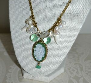 NWOT $1225 STEPHEN DWECK Green Cameo Pearl Flourite Necklace Bronze Chain