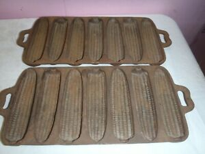 RARE VINTAGE CORN BREAD MUFFIN CAST IRON PANCAST IRON MOLDS PAIR OF TWO