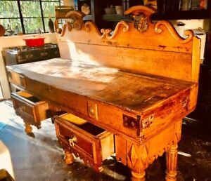ANTIQUE FRENCH BUTCHER BLOCK TABLE 1850's 2 Cast Iron Steer Heads Exquisite!!!