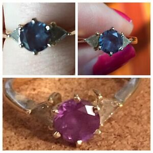 Twin Diamond and Alexandrite Stone in an Erevklpl 14K Yellow Gold Ring Sz 6 14!