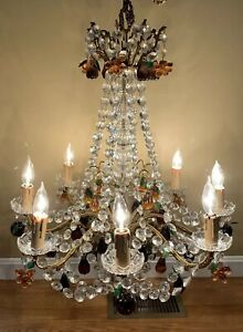 Antique Dore Bronze Italian Crystal Murano Fruit Beaded Girandole Chandelier