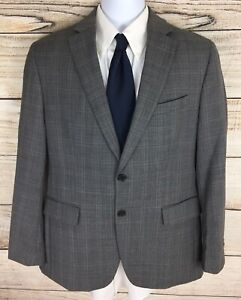 Mint Banana Republic Men's Wool Tailored Fit Gray Plaid Dual Vent Sportcoat 40S